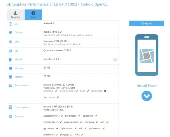 LG G4 F500x GFXBench