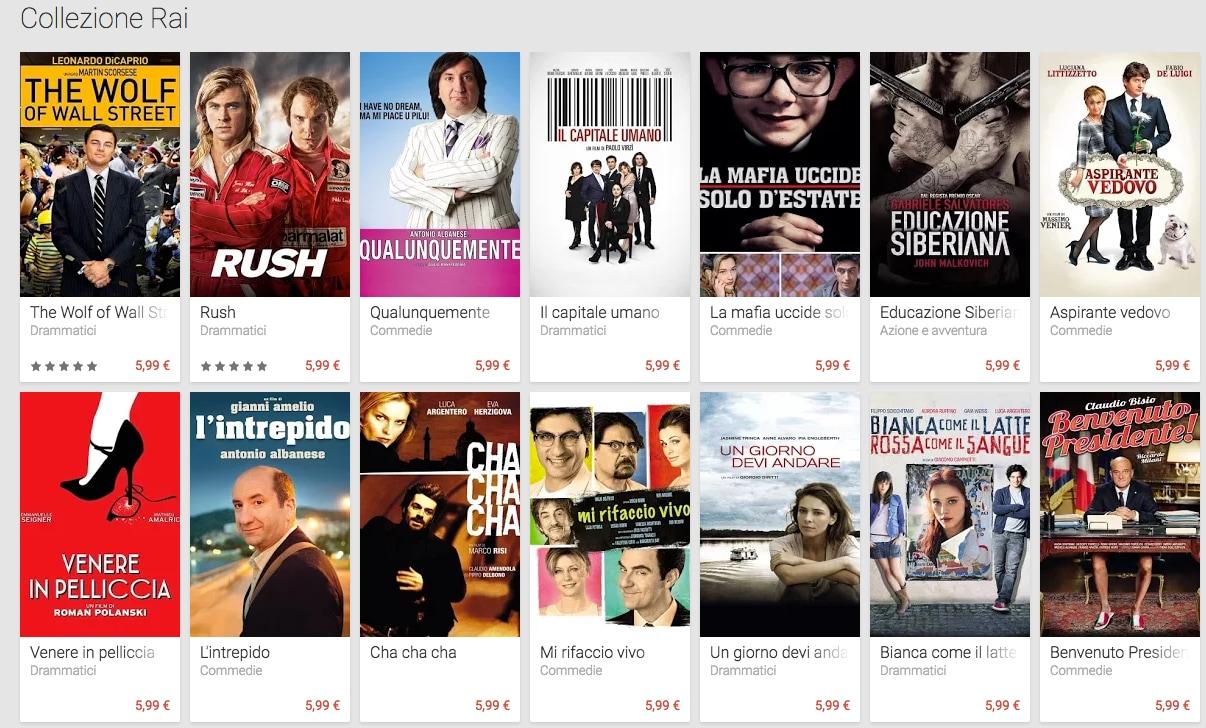 Il catalogo RAI Cinema disponibile su Google Play Film
