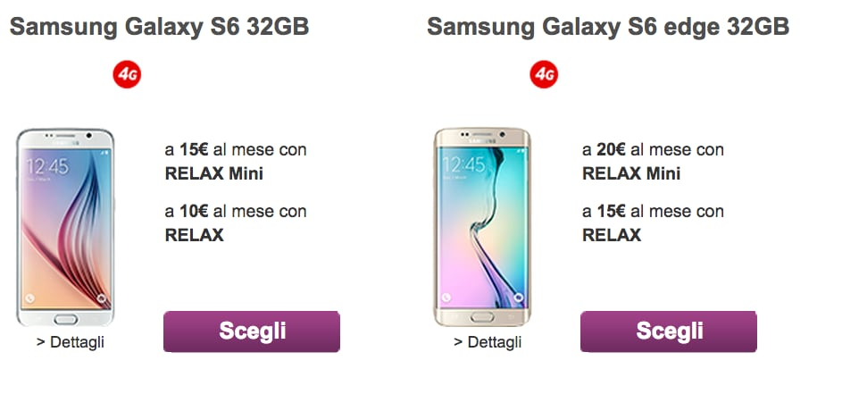 Vodafone abbonamento galaxy s6 s6 edge