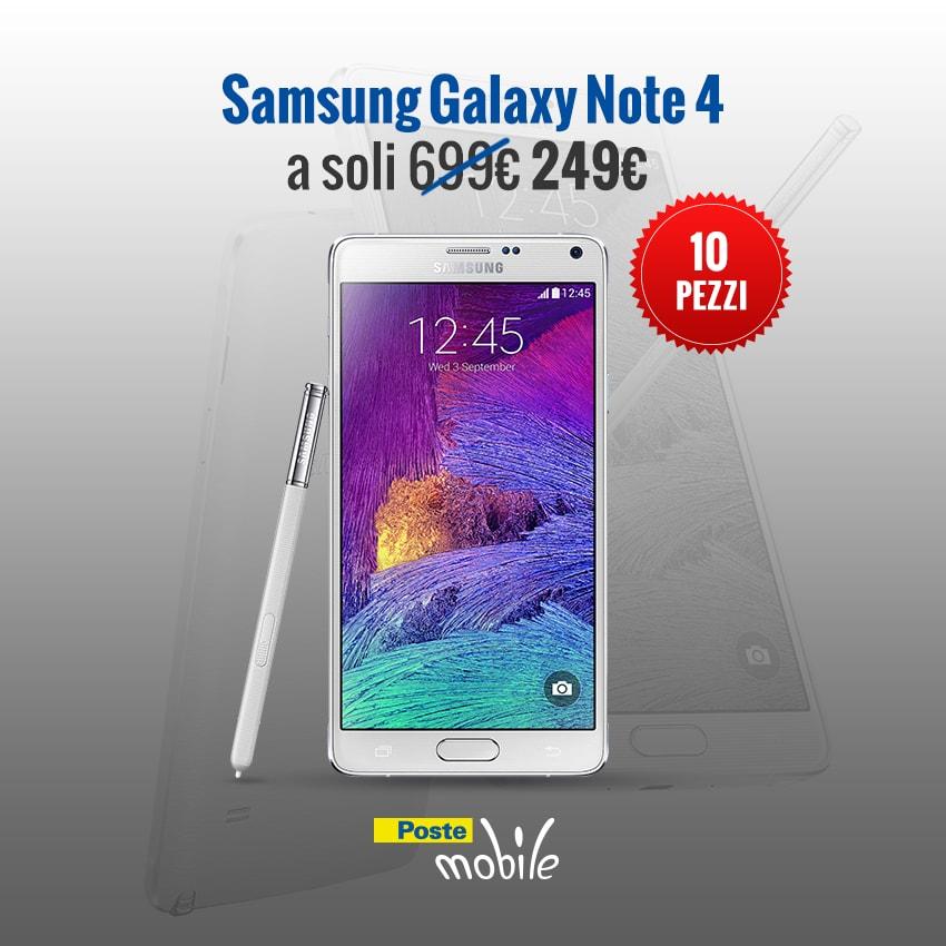 PosteMobile straccia il prezzo di Galaxy Note 4: oggi alle 11 solo 249€, ma solo 10 pezzi!