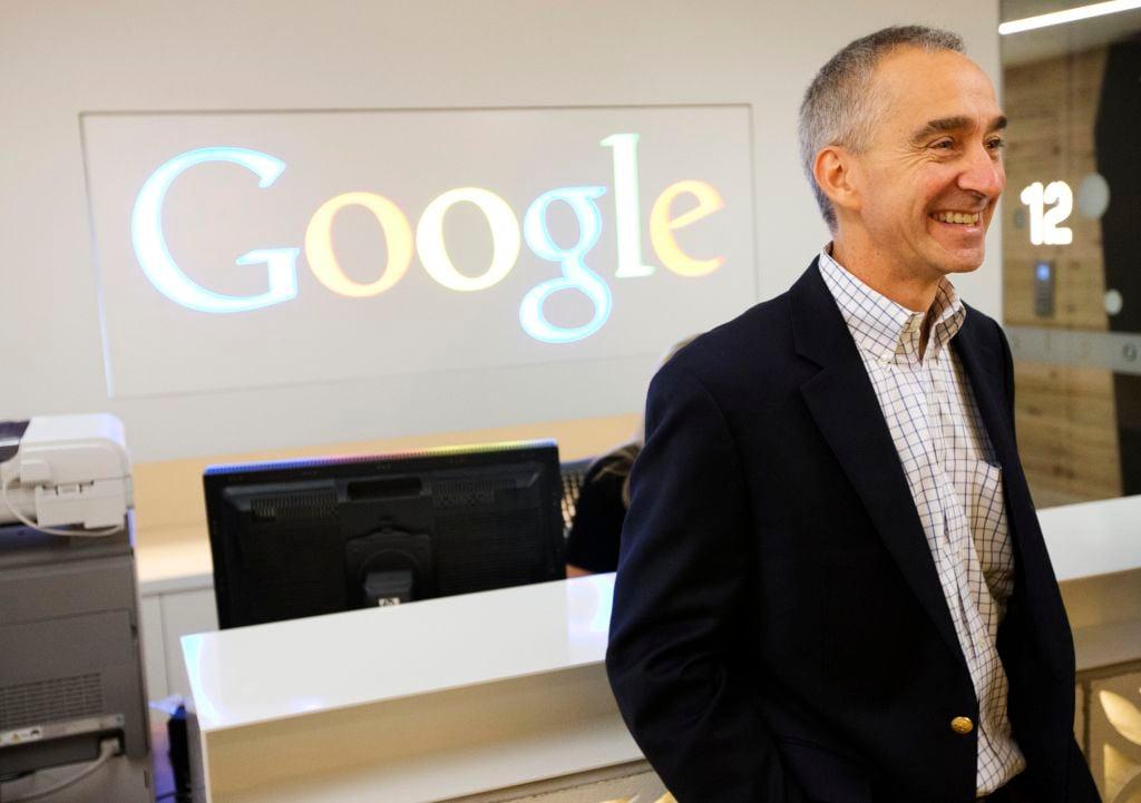 Google CFO Pichette smiles in the new Google office in Toronto