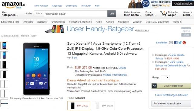 Sony Xperia M4 Aqua in pre-ordine su Amazon.de