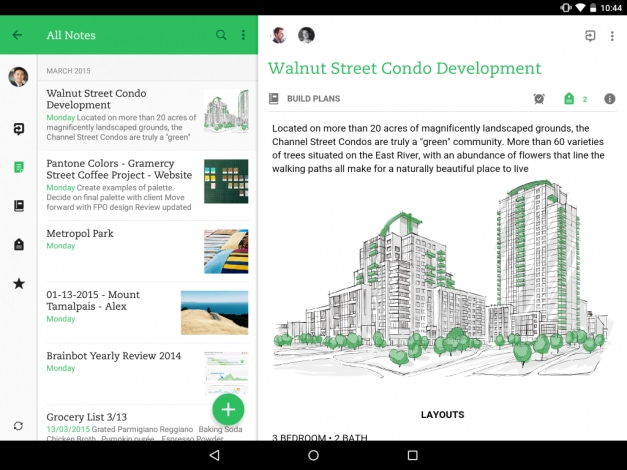 Evernote tablet material design