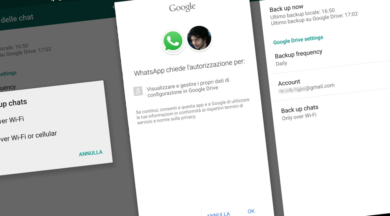 WhatsApp backup su Drive screenshot