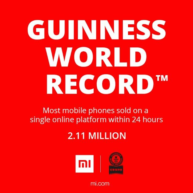 Xiaomi nel Guinness World Record col maggior numero di smartphone venduti in un giorno