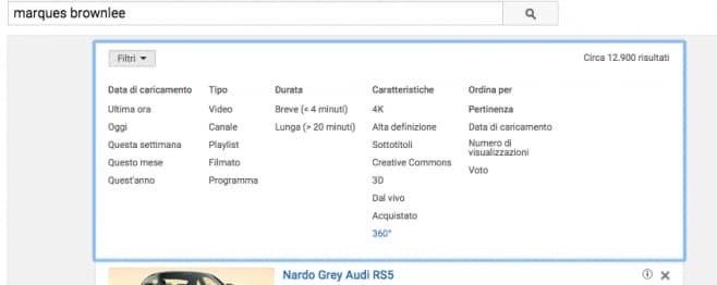 YouTube 360 gradi filtri - 1