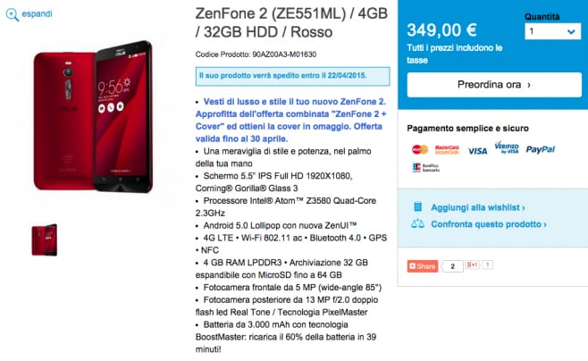 ZenFone 2 Cover Regalo
