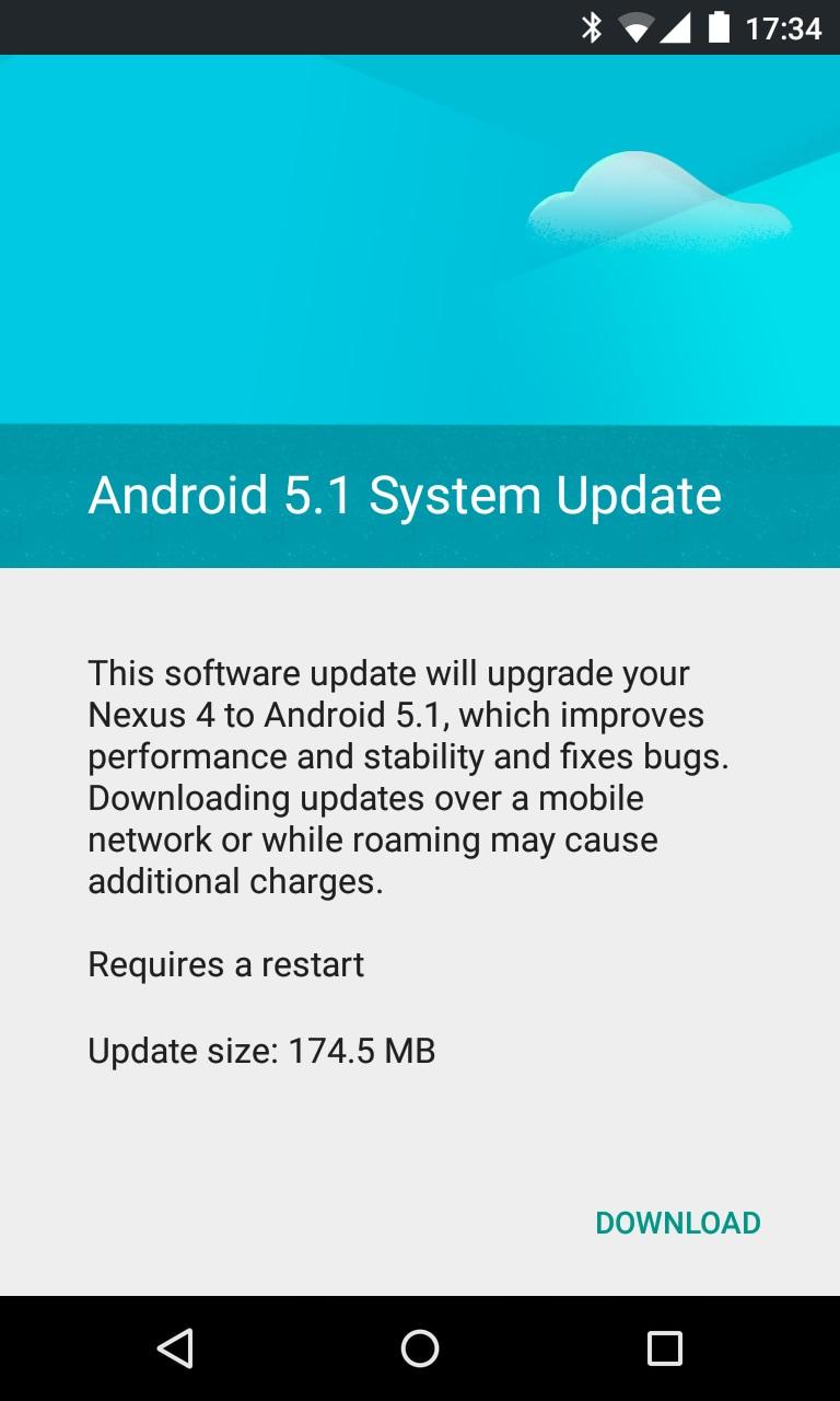 nexus 4 ota android 5.1