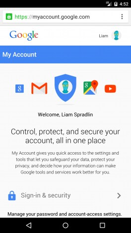 Google My Account redesign - 2