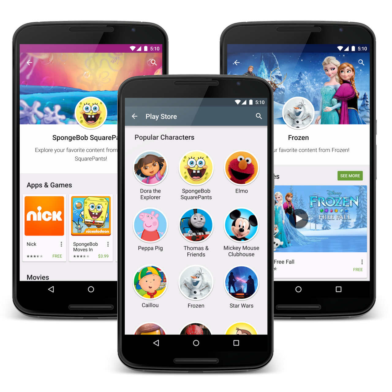 Google Play character page trio