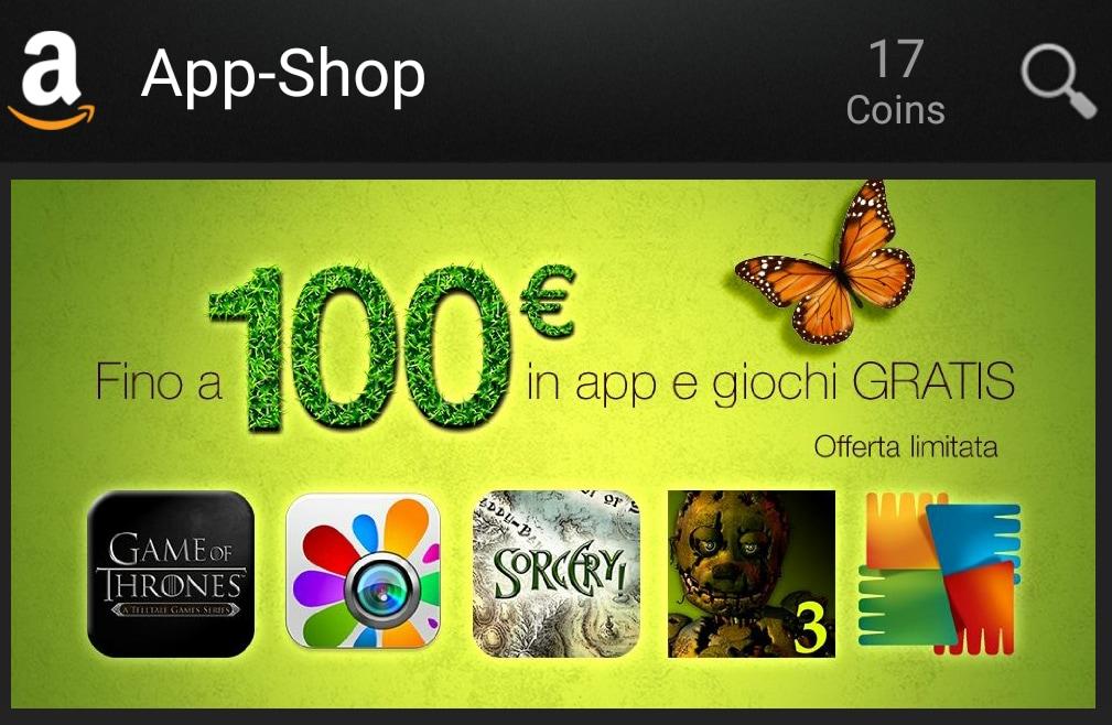 100€ di App in regalo su Amazon App-Shop tra cui Game of Thrones, Fleksy e AVG Antivirus PRO