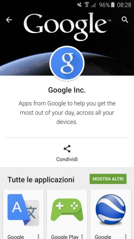 google play pagine personalizzate app