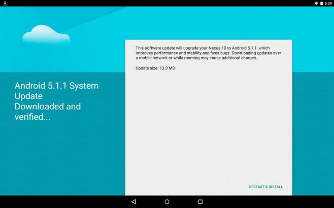 nexus 10 ota android 5.1.1