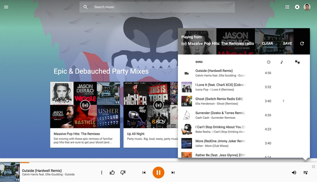 play music web material design 5
