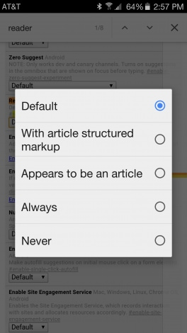 Modalità lettura Chrome Dev - 1