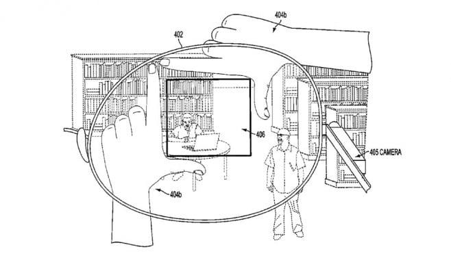 Google Glass brevetto inquadratura dita