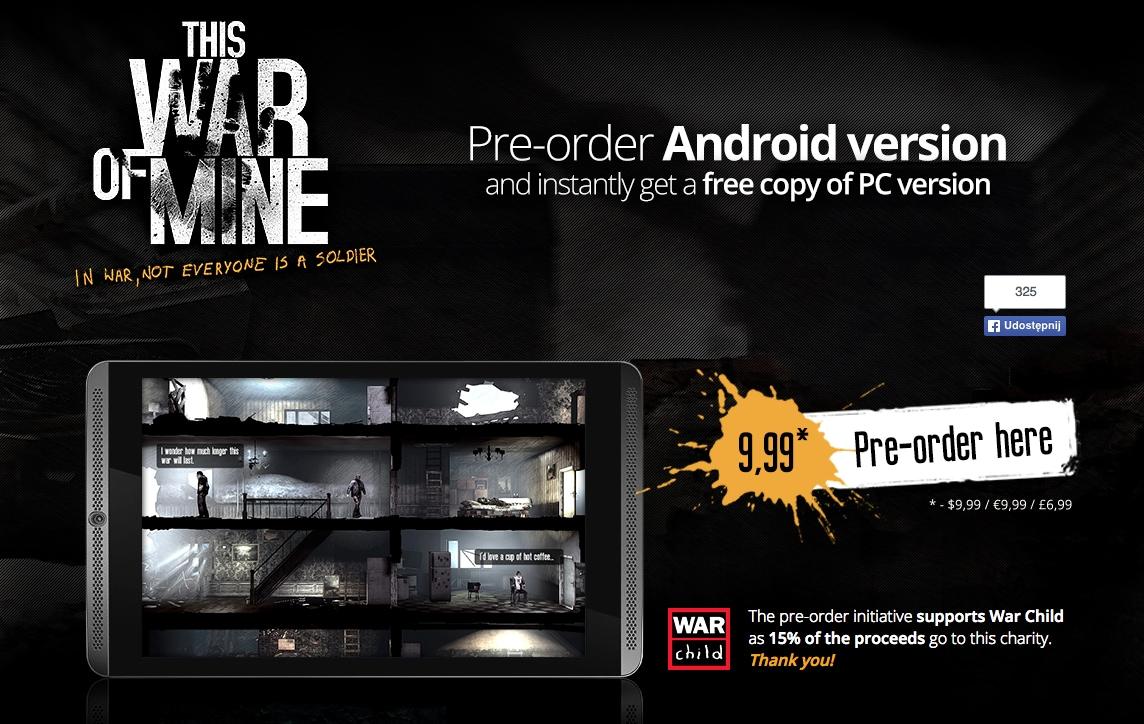 Pre-ordinando This War of Mine per Android in regalo la versione PC