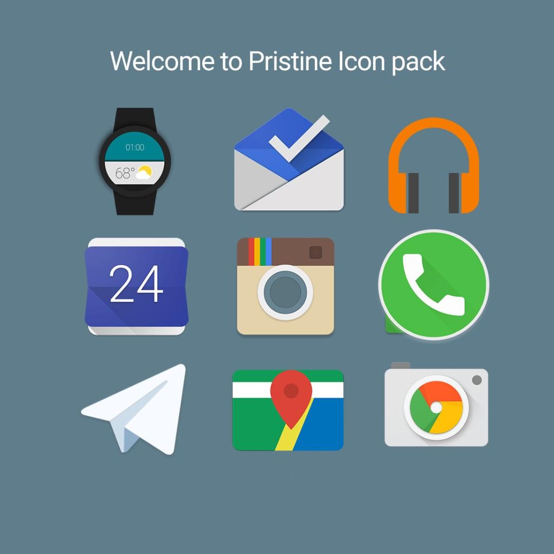Un nuovo icon pack con eleganti icone flat: Pristine (foto)
