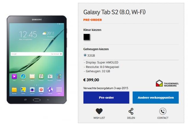 Samsung Galaxy Tab S2 Preordine Olanda - 1