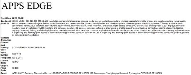 Samsung brevetto apps edge