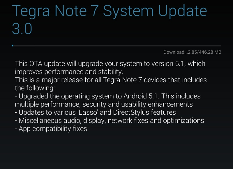 Tegra note 7 android 5.1