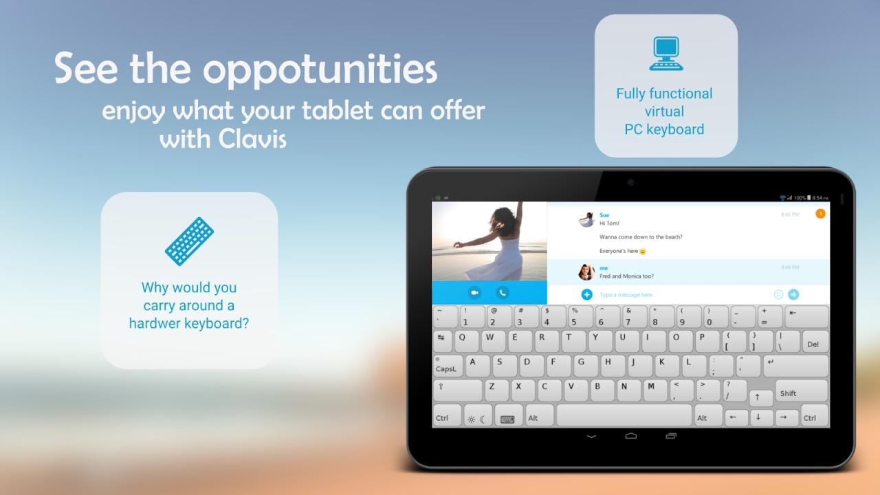 Una tastiera virtuale da PC per il vostro tablet: Clavis Keyboard (foto)