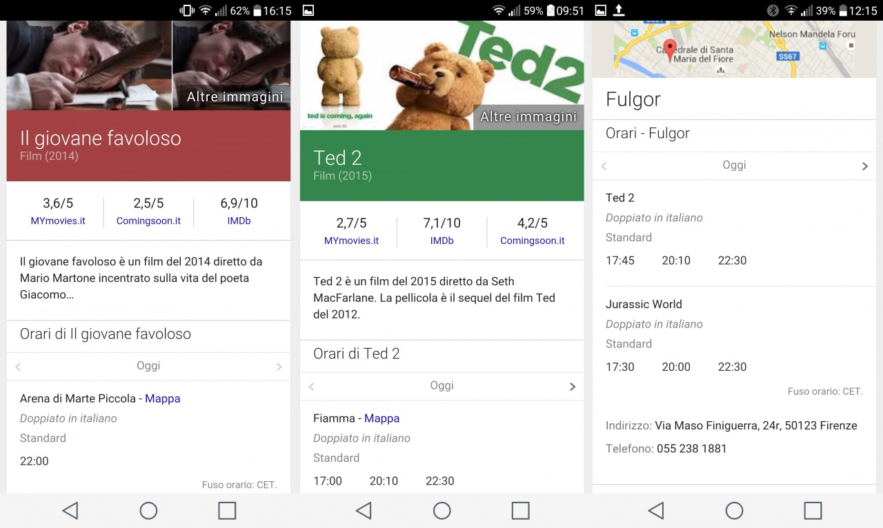 Piccole novità per la ricerca di film / cinema con Google