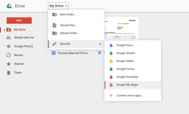 google my maps drive
