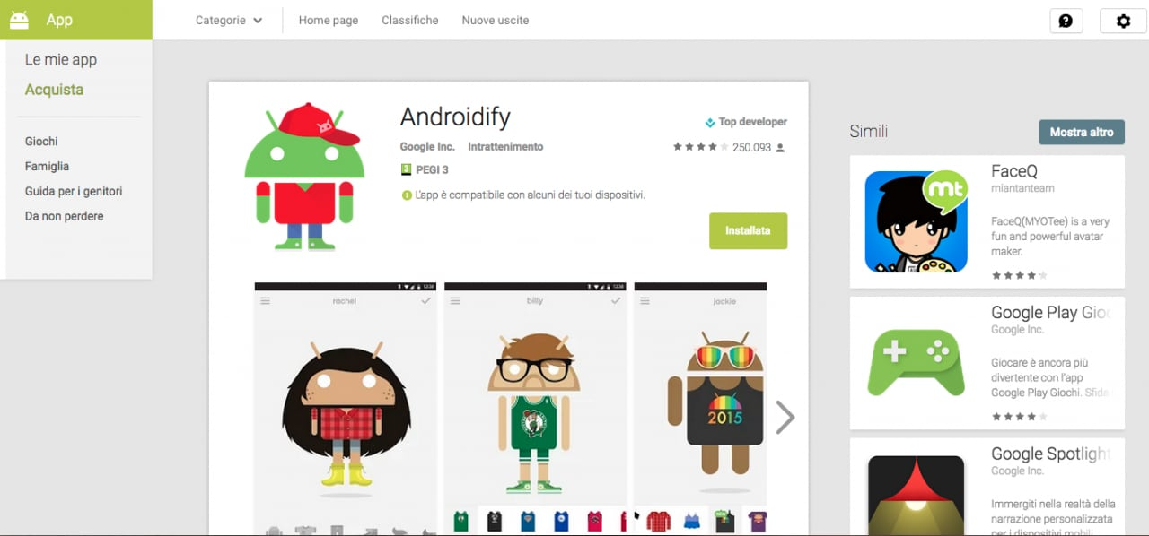 google play web layout