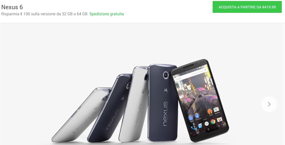 Google Store taglia il prezzo di Nexus 6: si parte da 420€