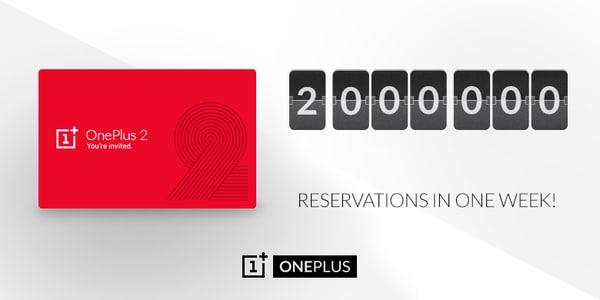 OnePlus 2 - 2 milioni di inviti in una settimana