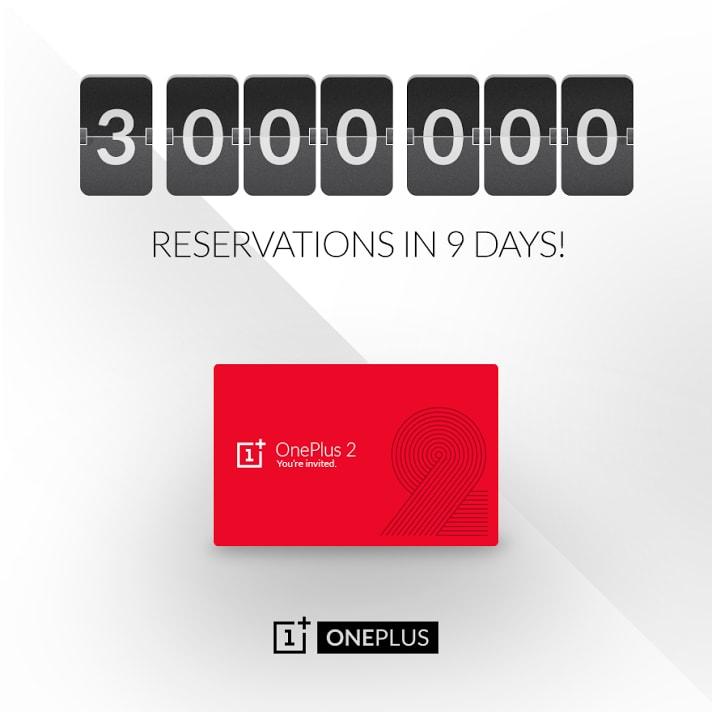OnePlus 2 raggiunge 3 milioni di prenotazioni in 9 giorni