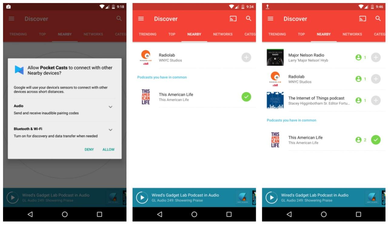 Pocket Casts dà l'esempio e già sfrutta le nuove API nearby