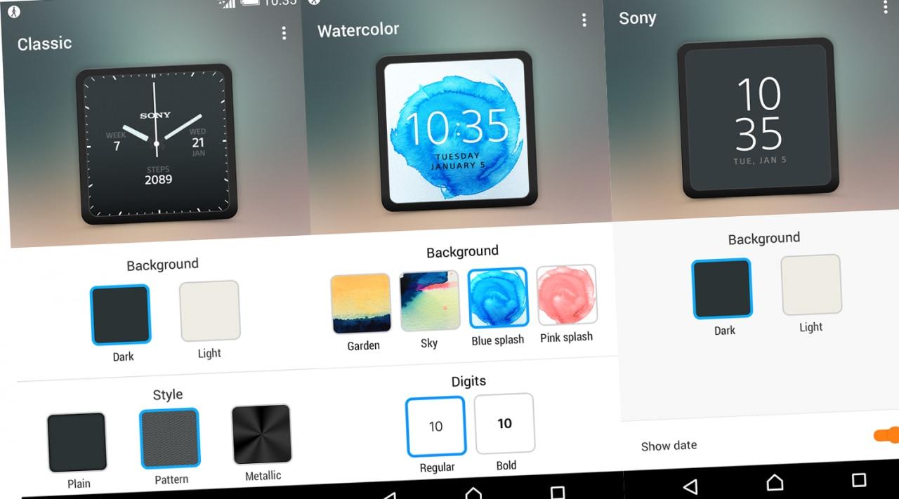 Sony pubblica l'app per le watch face di SmartWatch 3
