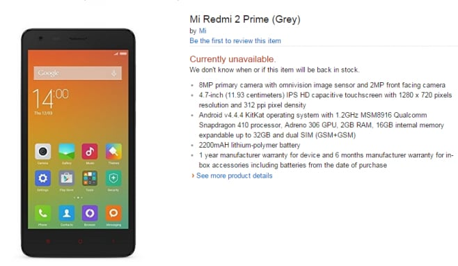 Xiaomi Redmi 2 Prime Amazon India