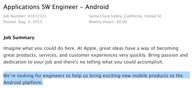 apple richiesta lavoro app android