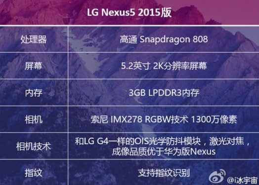 specifiche nexus lg rumor