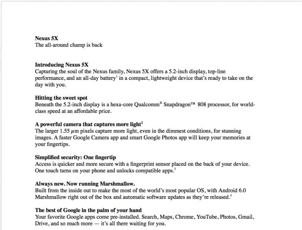 Nexus 5X Leaked slide - 1