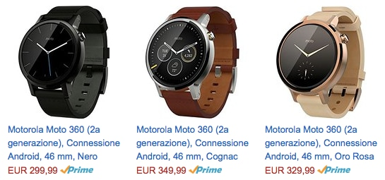 Motorola Moto 360 2015 pre-ordine Amazon.it