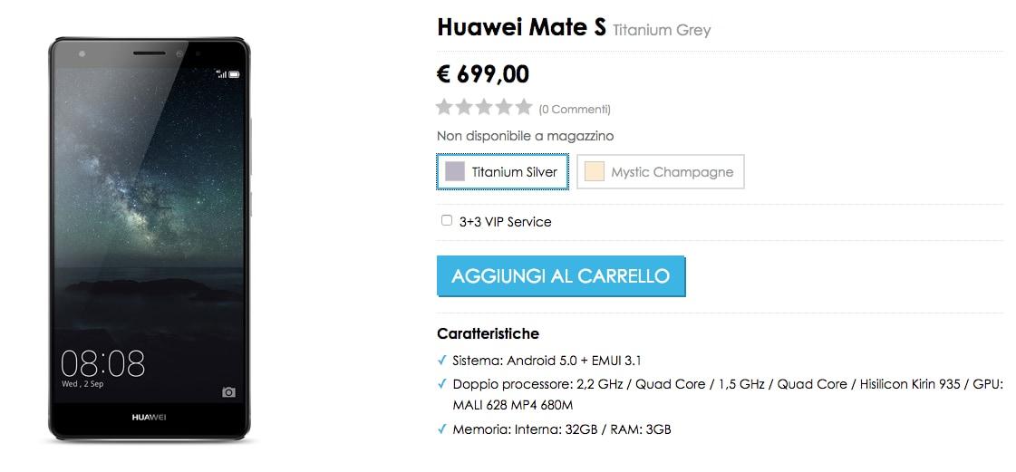 Huawei Mate S rincara a 699€ sullo store ufficiale vMall