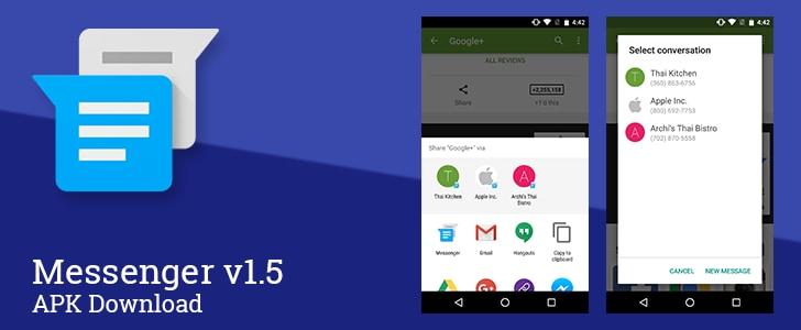 Google Messenger 1.5 supporta la condivisione diretta di Marshmallow (download apk)