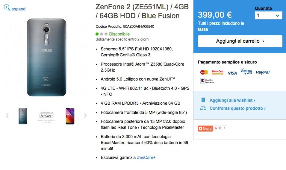 Disponibile sull'e-shop di ASUS lo ZenFone 2 4GB/64GB Blue Fusion