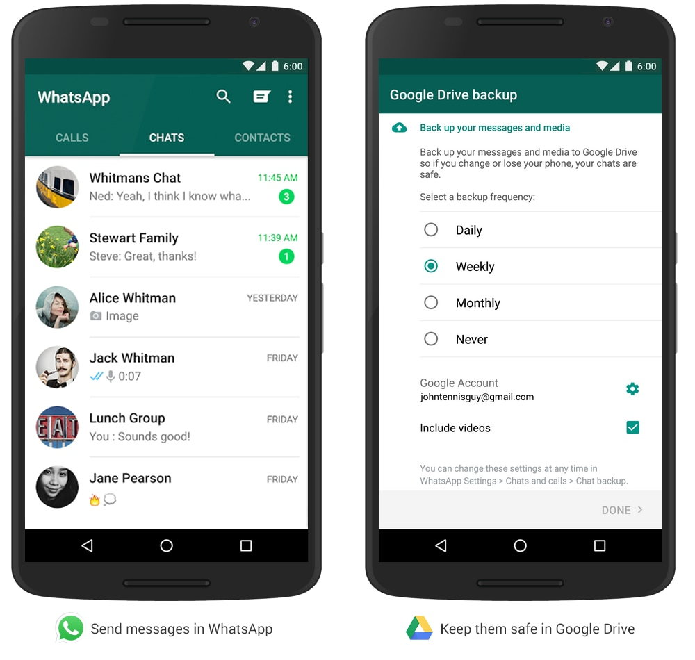 Google annuncia... il backup delle chat di WhatsApp su Google Drive!