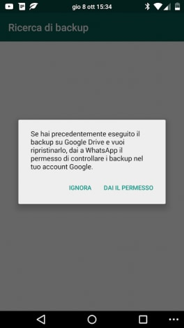ripristino backup whatsapp google drive