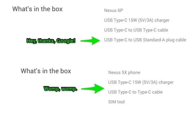 nexus 5x 6p confezione