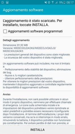 aggiornamento galaxy Note 5 screenshot - 1