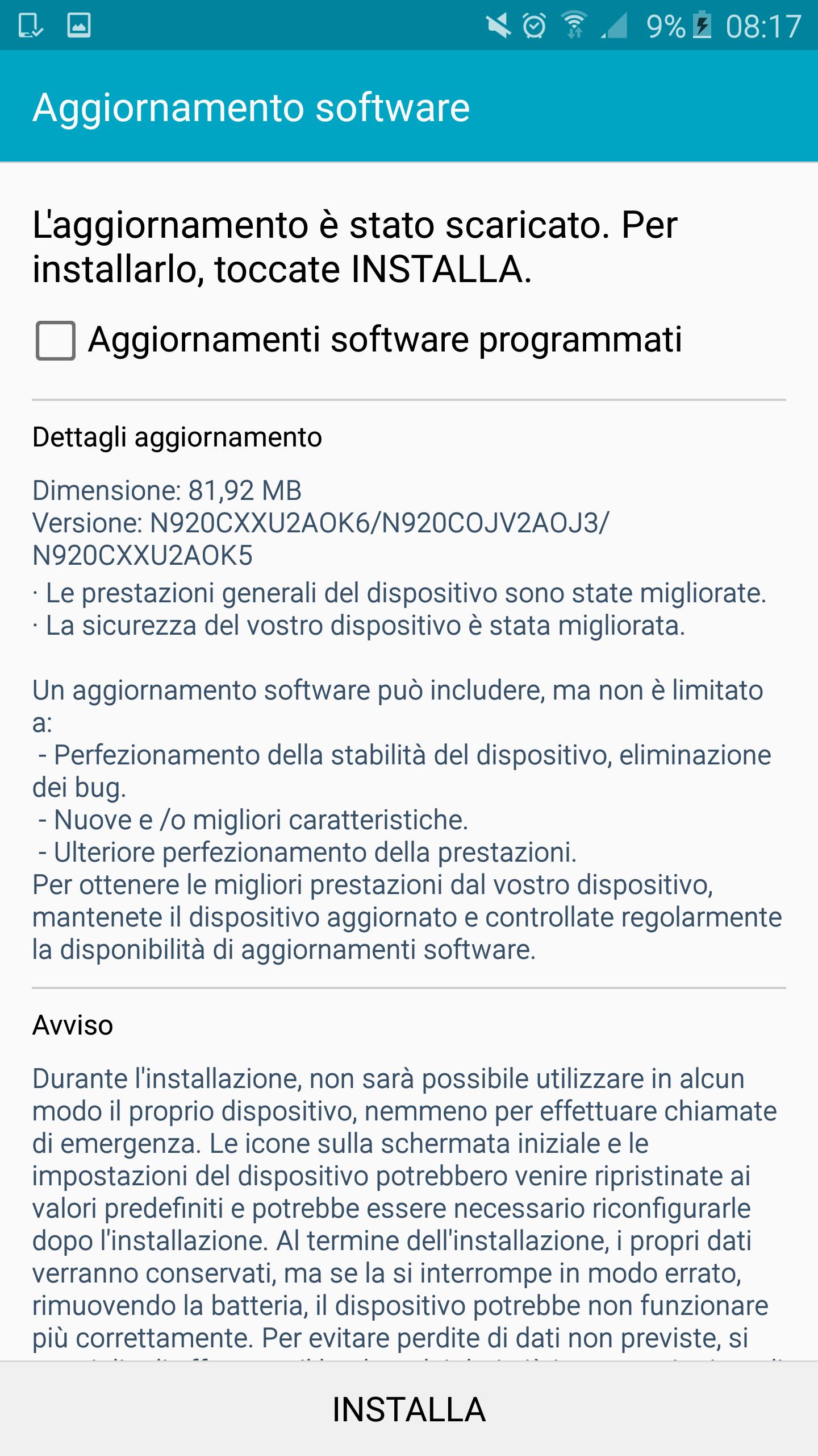 aggiornamento galaxy Note 5 screenshot – 1