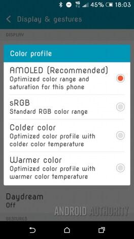 HTC One A9 - profili colore schermo - 1