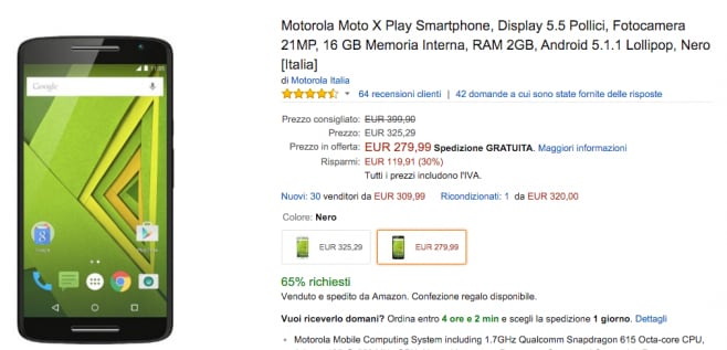 moto x play offerta lampo amazon