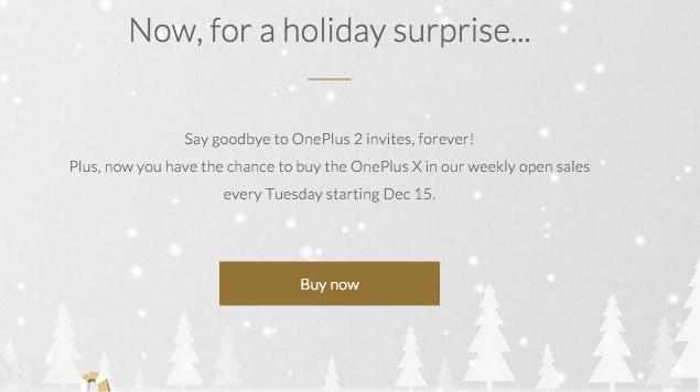Dal 15 dicembre potrete acquistare OnePlus X senza invito una volta ogni settimana